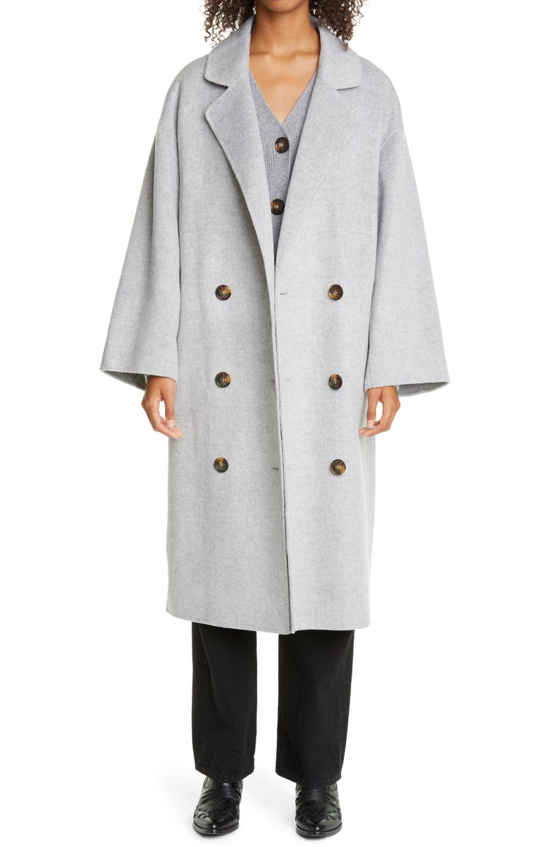 LOULOU STUDIO Double Breasted Wool & Cashmere Coat, Main, color, GREY MELANGE