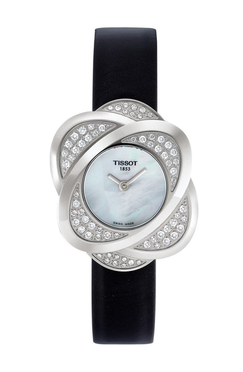 TISSOT Women's Precious Flower Leather Watch, 22.5mm, Main, color, MOTHER OF PEARL