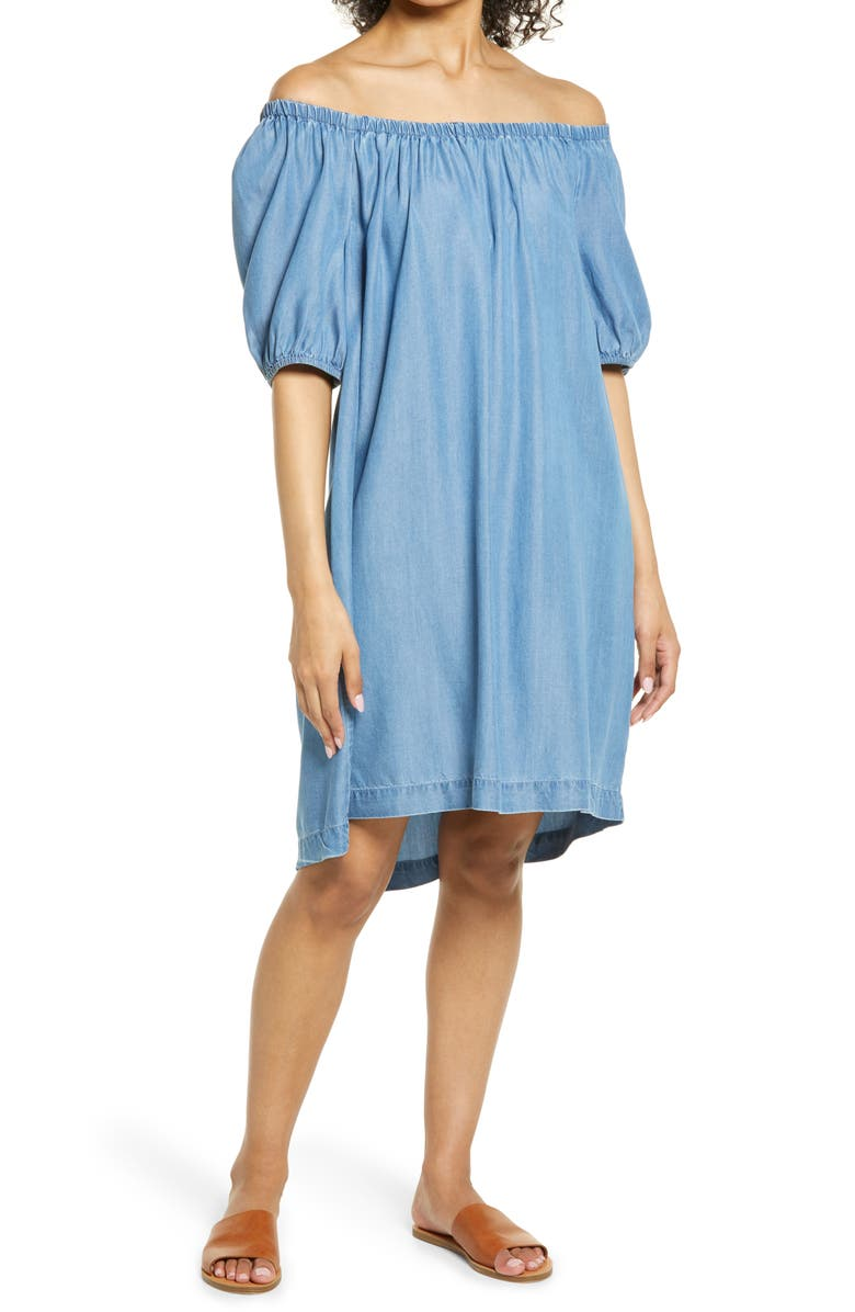 BEACHLUNCHLOUNGE Ceyda Off the Shoulder Chambray Dress, Main, color, MEDIUM WASH