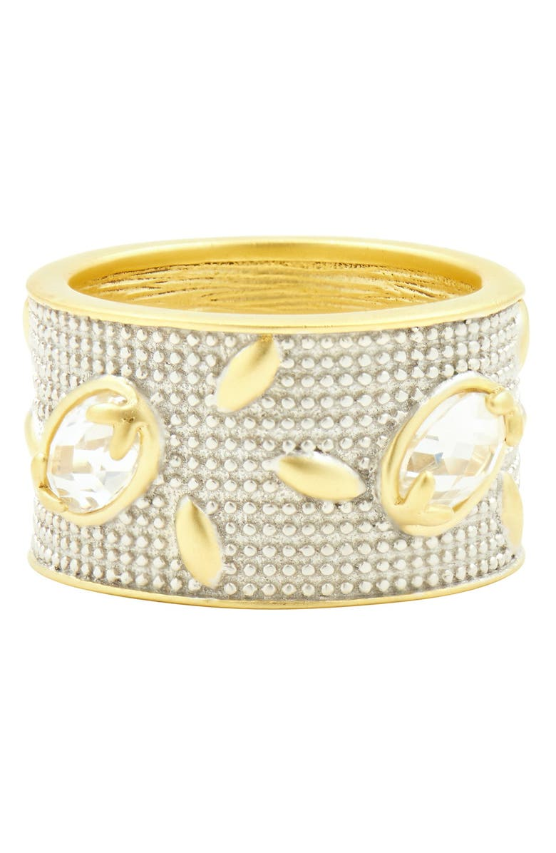 FREIDA ROTHMAN Fleur Bloom Wide Band CZ Ring, Main, color, SILVER AND GOLD