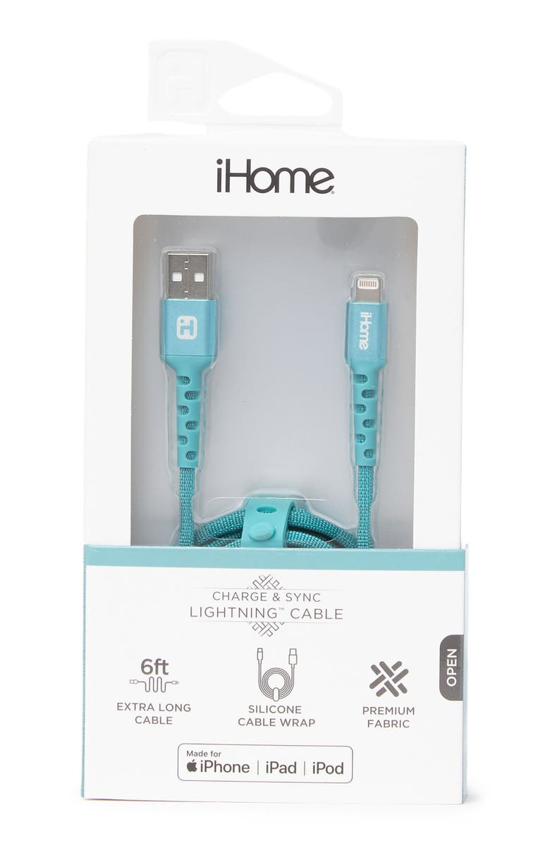 IHOME 6ft. Chambray Nylon Lightning Charge Cable - Mint, Main, color, MINT