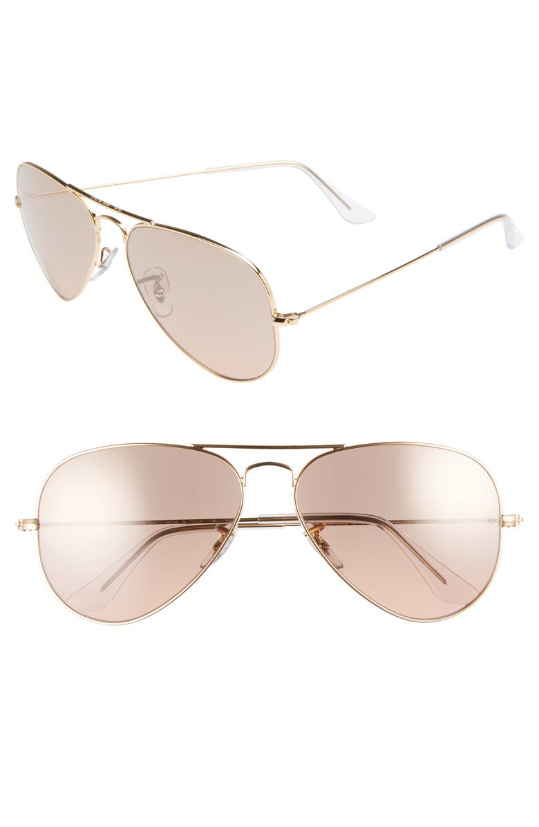 RAY-BAN Standard Original 58mm Aviator Sunglasses, Main, color, GOLD/ PINK MIRROR