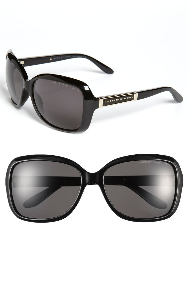 MARC BY MARC JACOBS 58mm Polarized Sunglasses, Main, color, 001