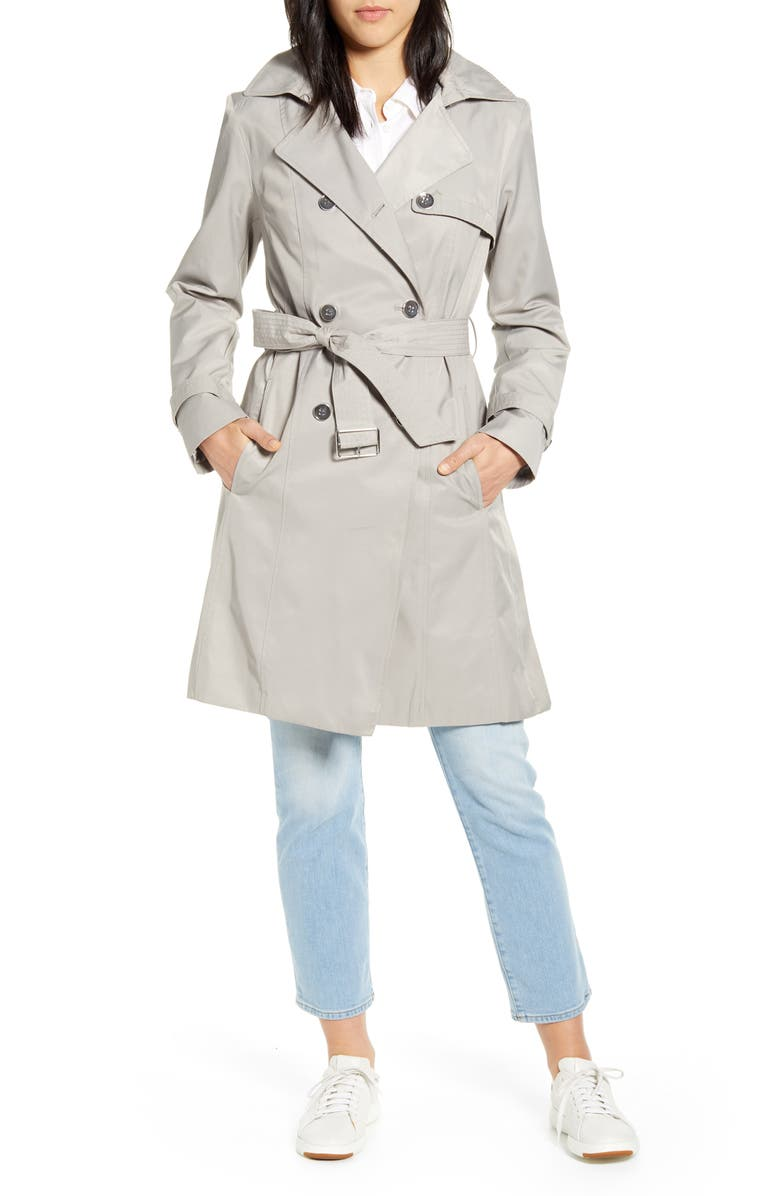 COLE HAAN SIGNATURE Hooded Trench Coat, Main, color, PEARL