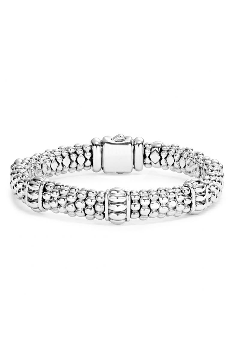 LAGOS Fluted Station Caviar Rope Bracelet, Main, color, SILVER