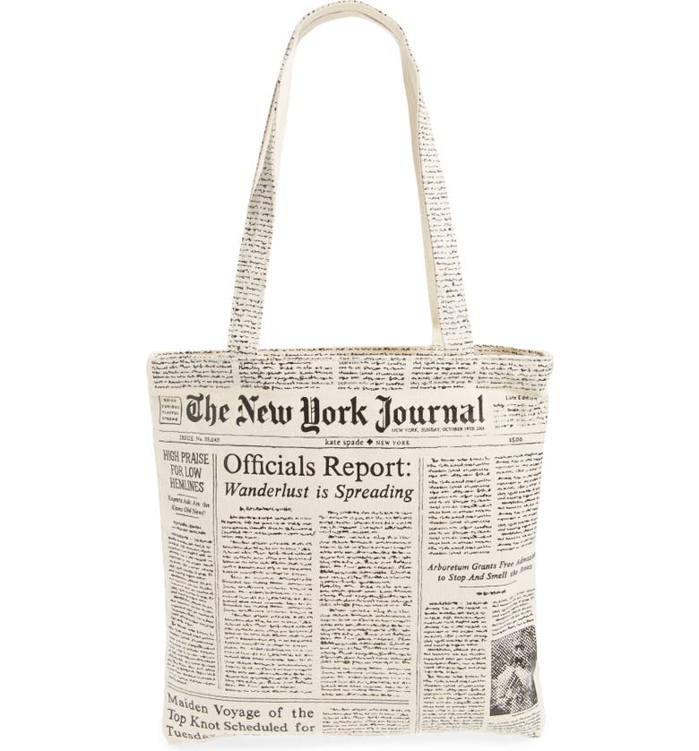 KATE SPADE NEW YORK newspaper print canvas shopping tote, Main, color, WHITE