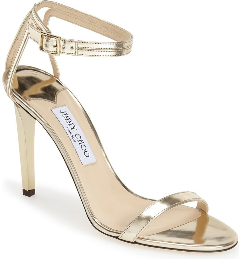 JIMMY CHOO 'Daisy' Sandal, Main, color, CHAMPAGNE MIRROR LEATHER