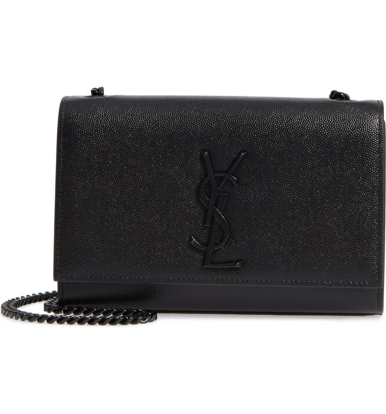 SAINT LAURENT Small Kate Leather Shoulder Bag, Main, color, 001