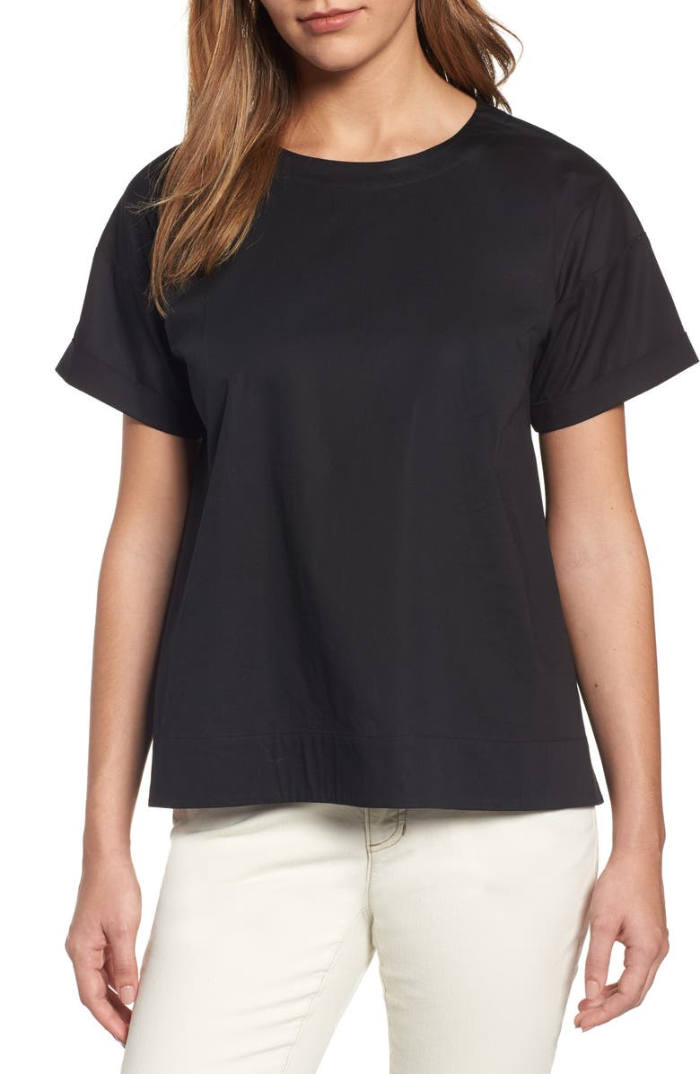 EILEEN FISHER Stretch Organic Cotton Top, Main, color, Black