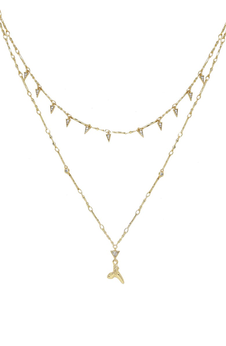 ETTIKA Shark Tooth Pendant Multistrand Necklace, Main, color, GOLD