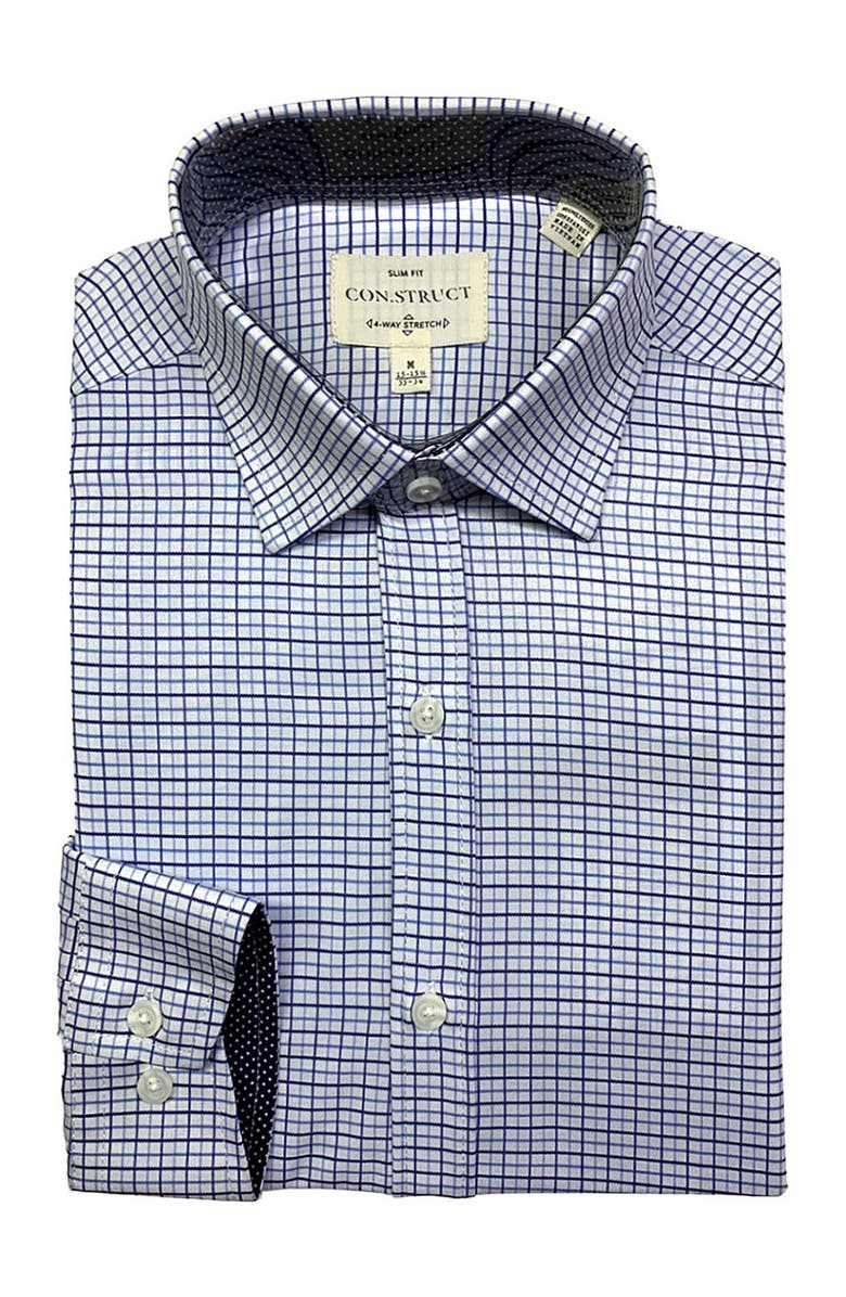 CONSTRUCT 4-Way Stretch Slim Fit Check Print Dress Shirt, Main, color, WHITE/NAVY