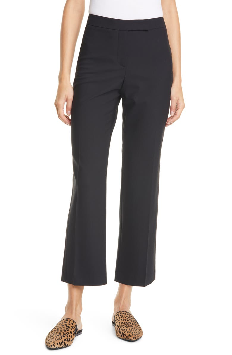 JUDITH & CHARLES Prato Topstitch Detail Stretch Wool Trousers, Main, color, 005