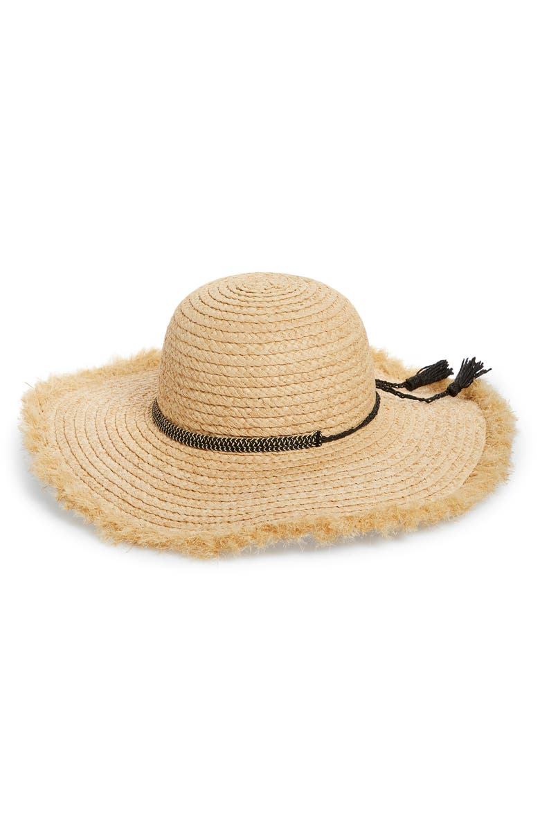 NORDSTROM Raffia Straw Floppy Hat, Main, color, NATURAL COMBO