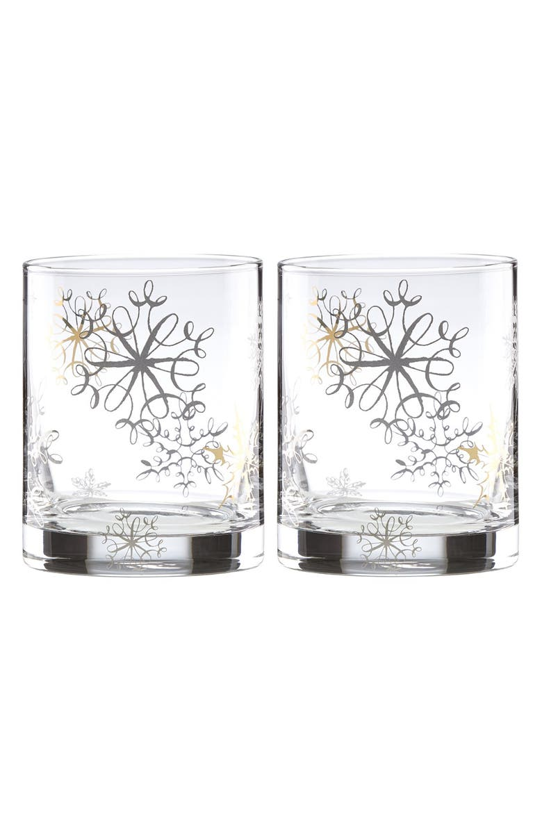 KATE SPADE NEW YORK 'metallic snowflake' double old fashioned glasses, Main, color, METALLIC GOLD