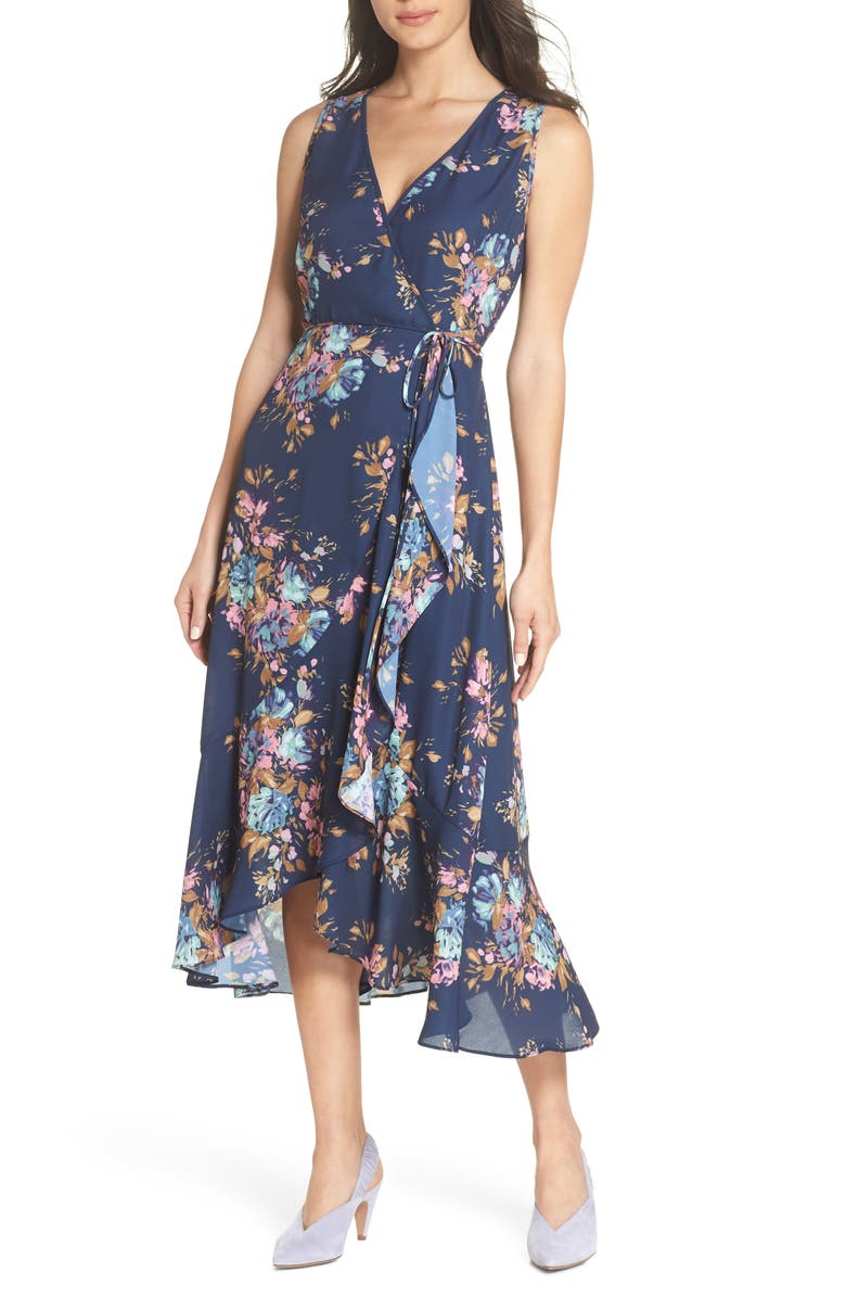 CHARLES HENRY Floral Sleeveless Wrap Dress, Main, color, NAVY FLORAL