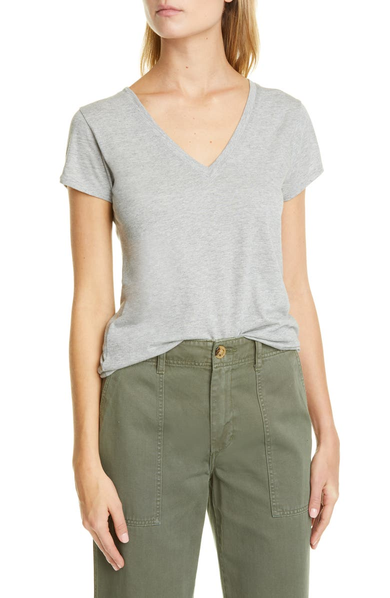 VINCE Pima Cotton V-Neck Top, Main, color, HEATHER GREY