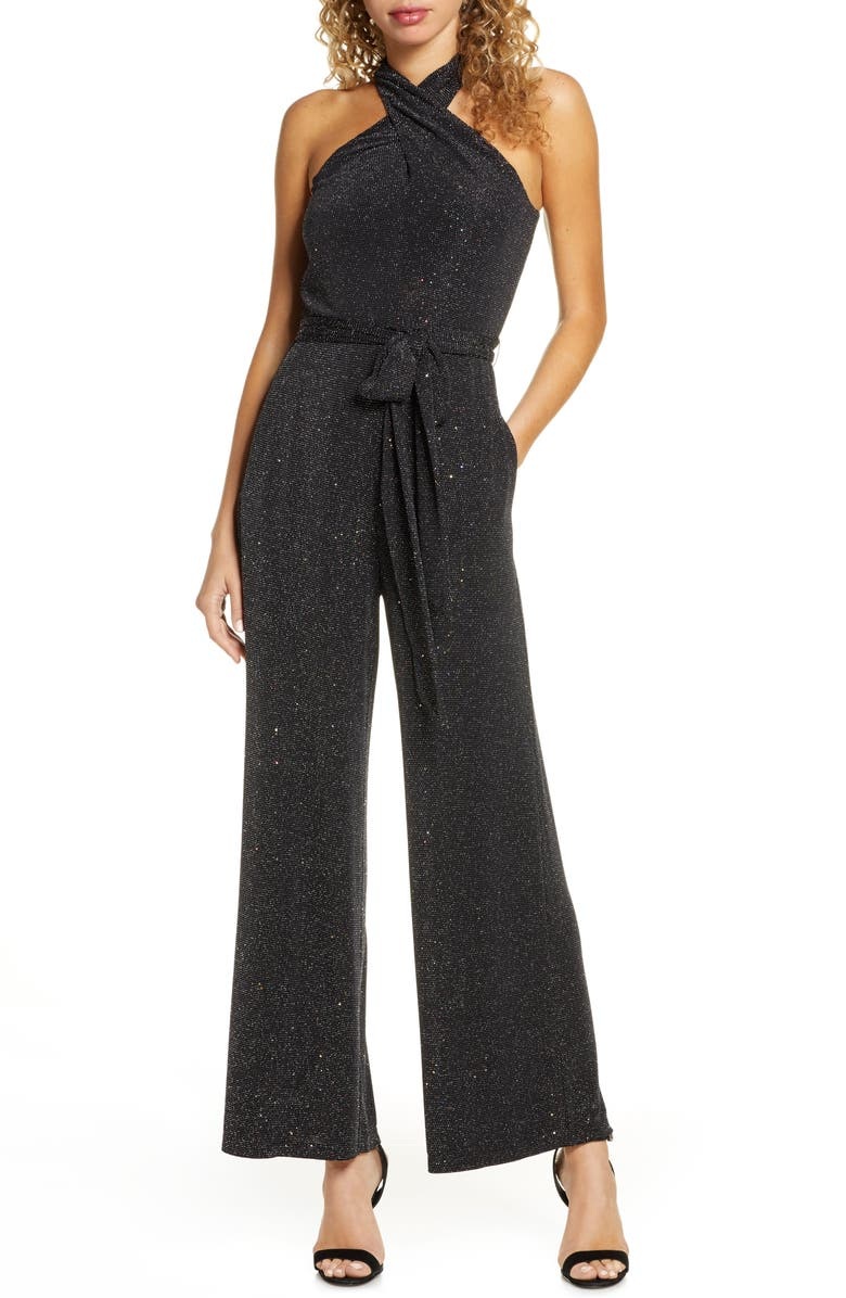SAM EDELMAN Sparkle Halter Neck Jumpsuit, Main, color, 501