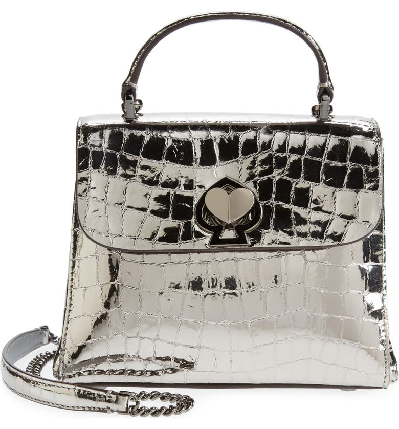 KATE SPADE NEW YORK romy metallic croc-embossed leather top handle bag, Main, color, 020