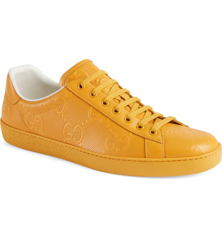 GUCCI New Ace Logo Low Top Sneaker, Main, color, YELLOW/ CROP