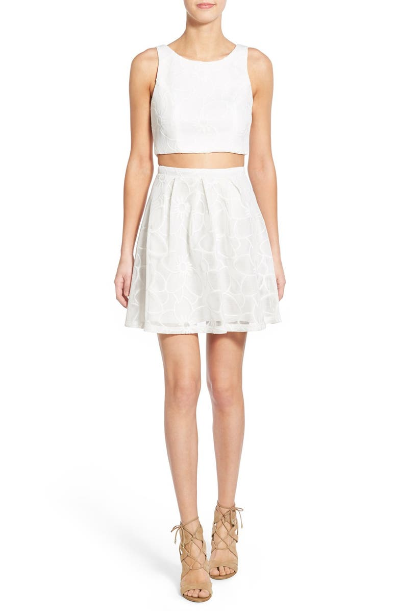 SEQUIN HEARTS Two-Piece Mesh Skater Dress, Main, color, White