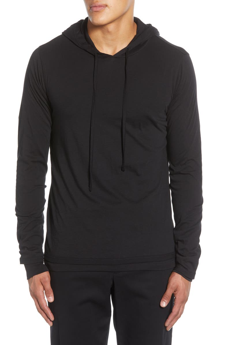VINCE Double Layer Drawstring Hoodie, Main, color, 001