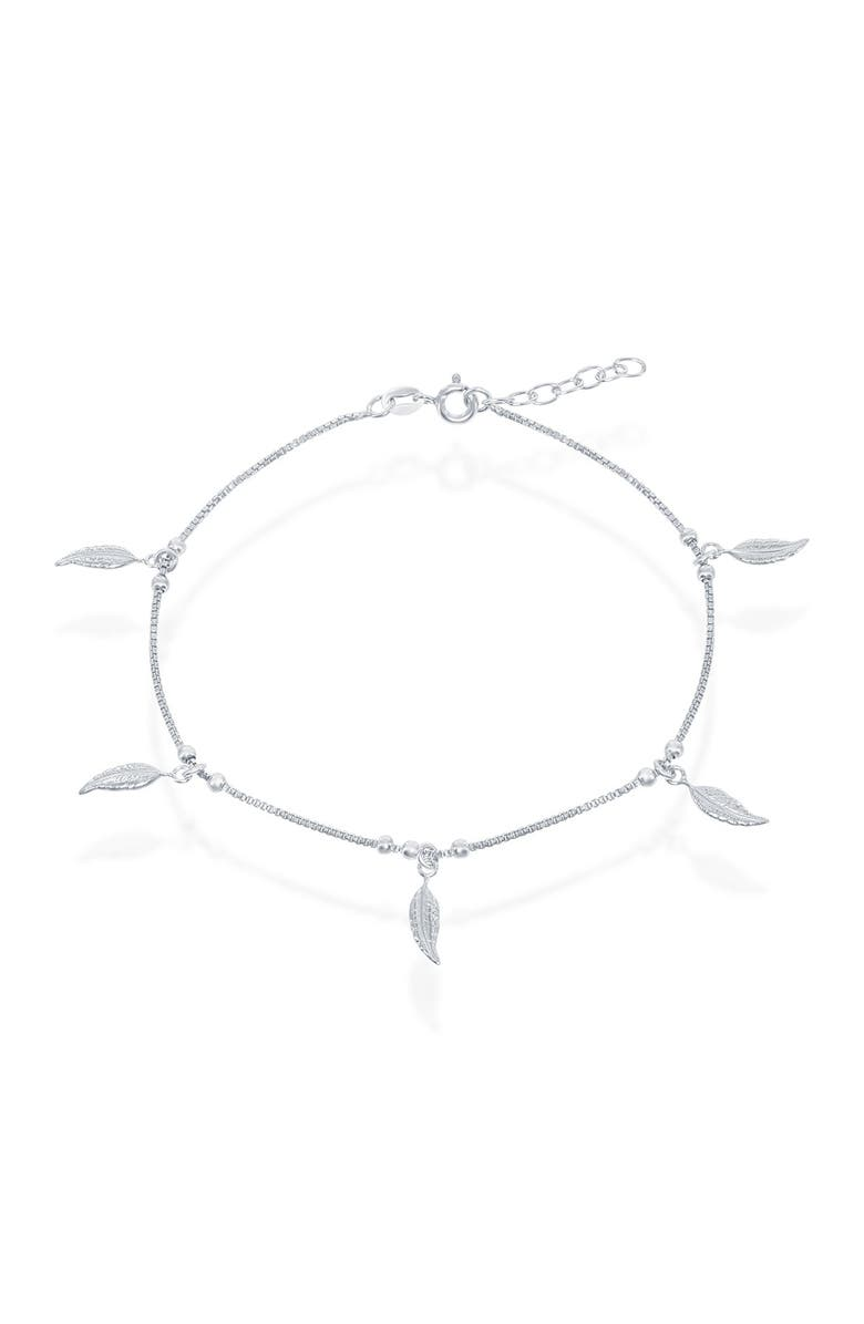 SIMONA Sterling Silver Leaf Charm Anklet, Main, color, SILVER