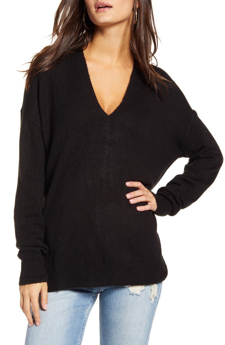 LEITH Cozy V-Neck Sweater, Main, color, 001