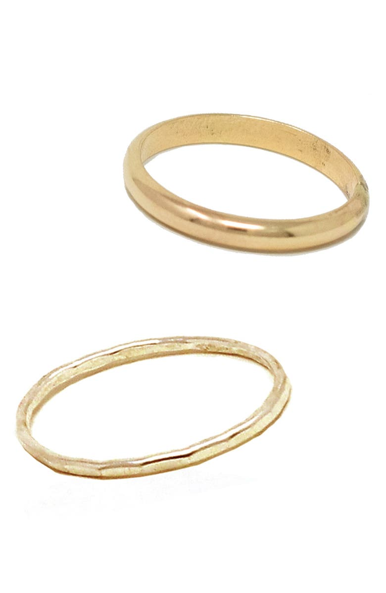 ABLE Set of 2 Dome Band & Hammered Band Stacking Ring, Main, color, 710