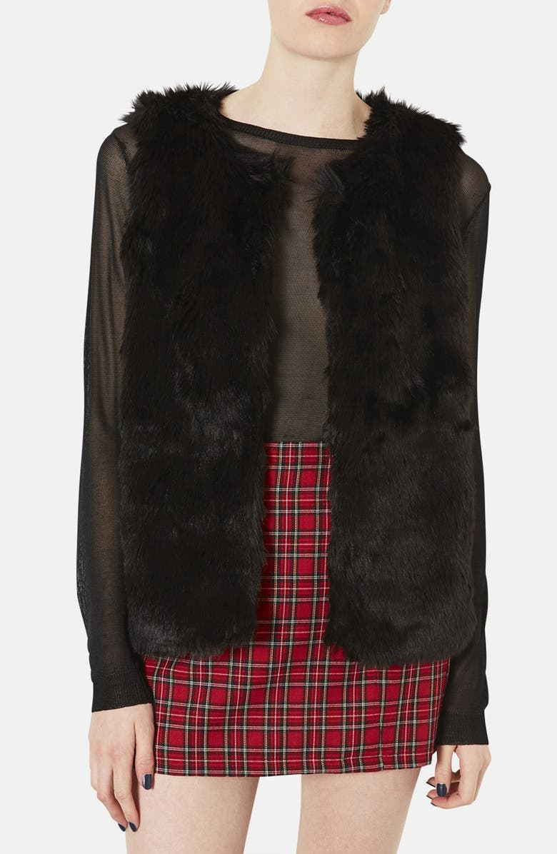 TOPSHOP Faux Fur Vest, Main, color, 001
