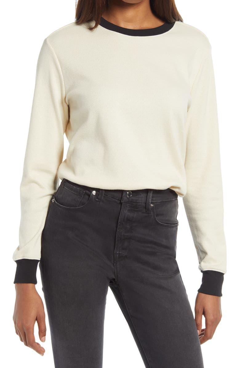 TREASURE & BOND Contrast Trim Thermal Top, Main, color, TAN BLEACHED- BLACK COMBO