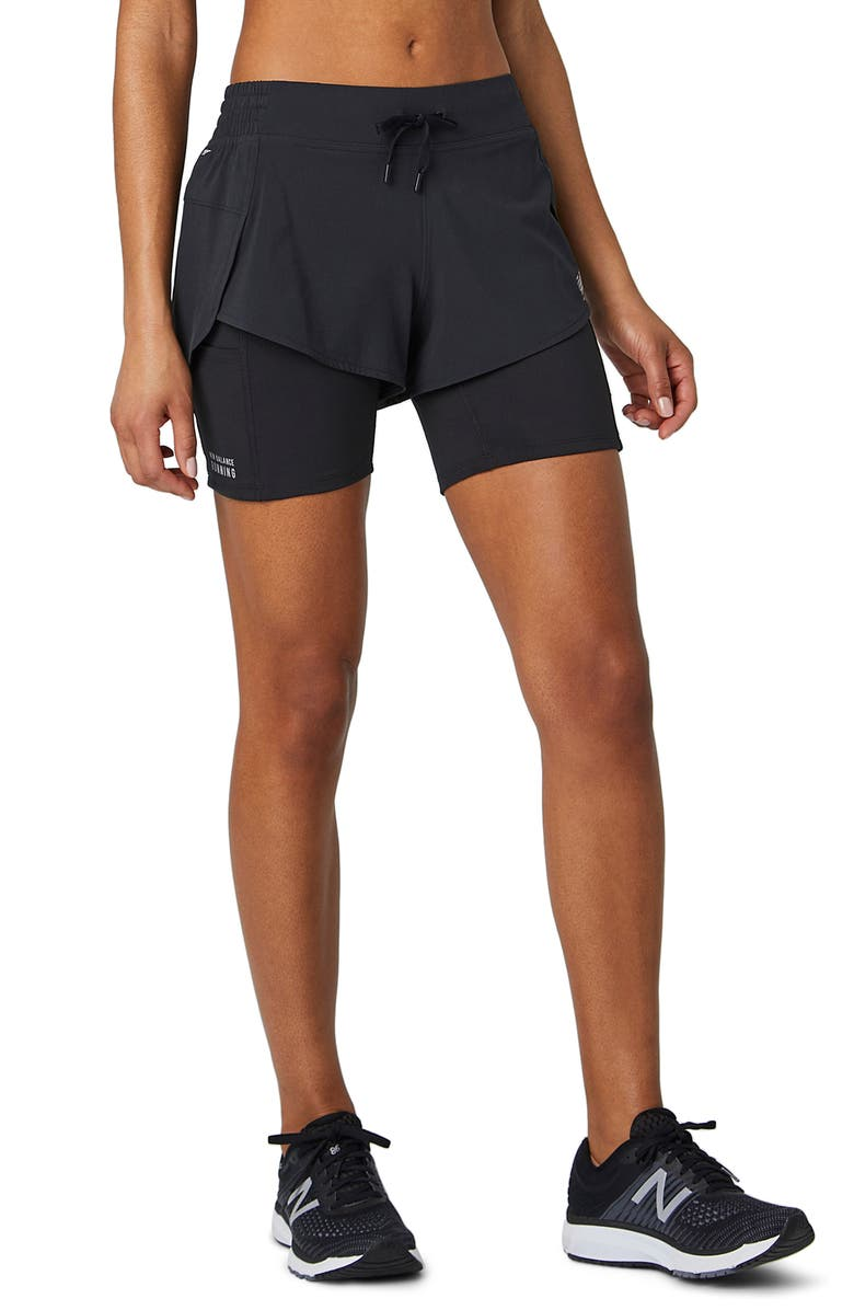 NEW BALANCE Impact 2-in-1 Running Shorts, Main, color, BLACK