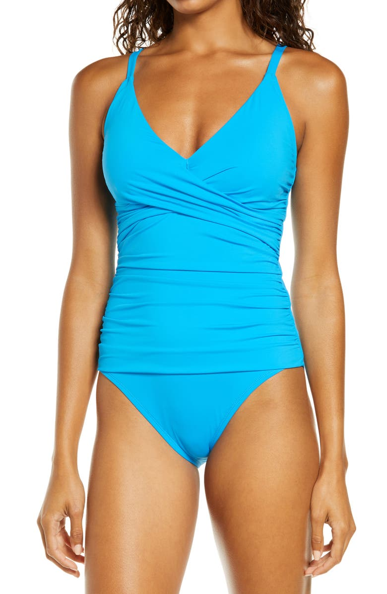 TOMMY BAHAMA Pearl One-Piece Swimsuit, Main, color, AZURE BLUE