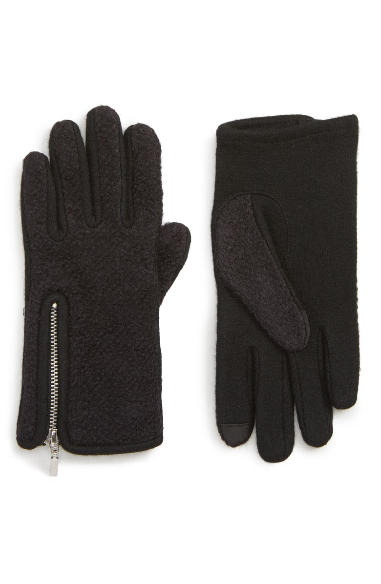 NORDSTROM Zip Bouclé Touchscreen Gloves, Main, color, 001