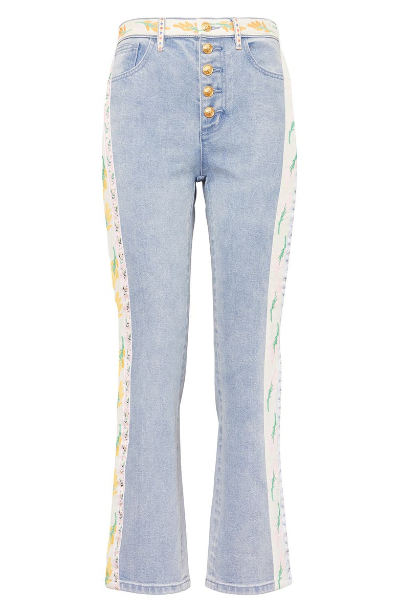 TORY BURCH Ribbon Embellished Flare Jeans, Main, color, 428