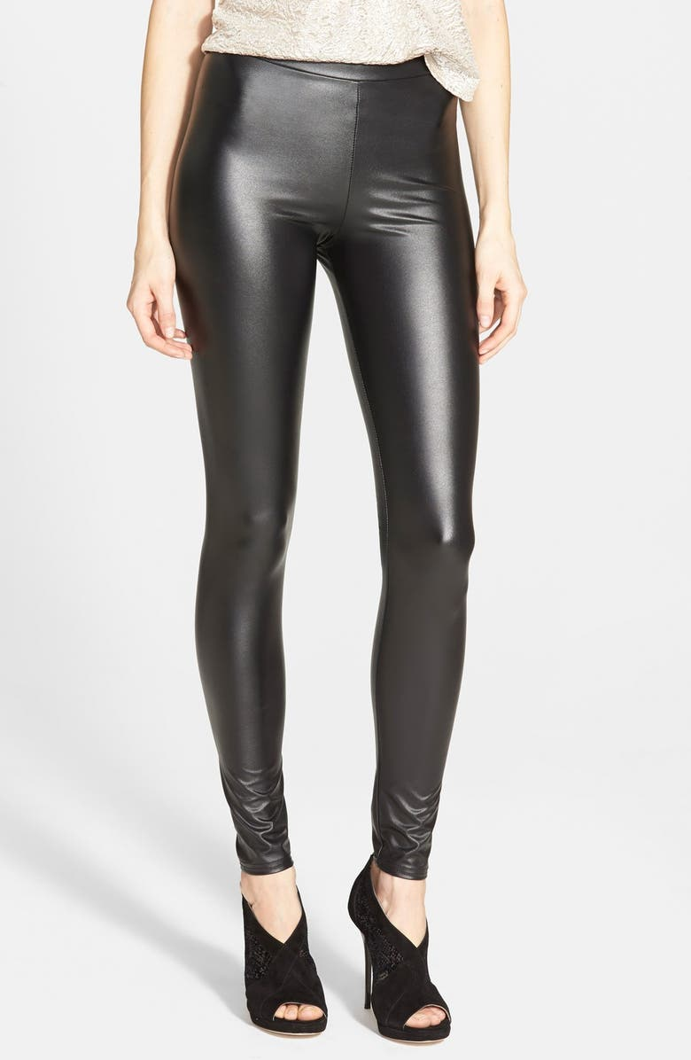 TOPSHOP Textured Wet Look Leggings, Main, color, 001