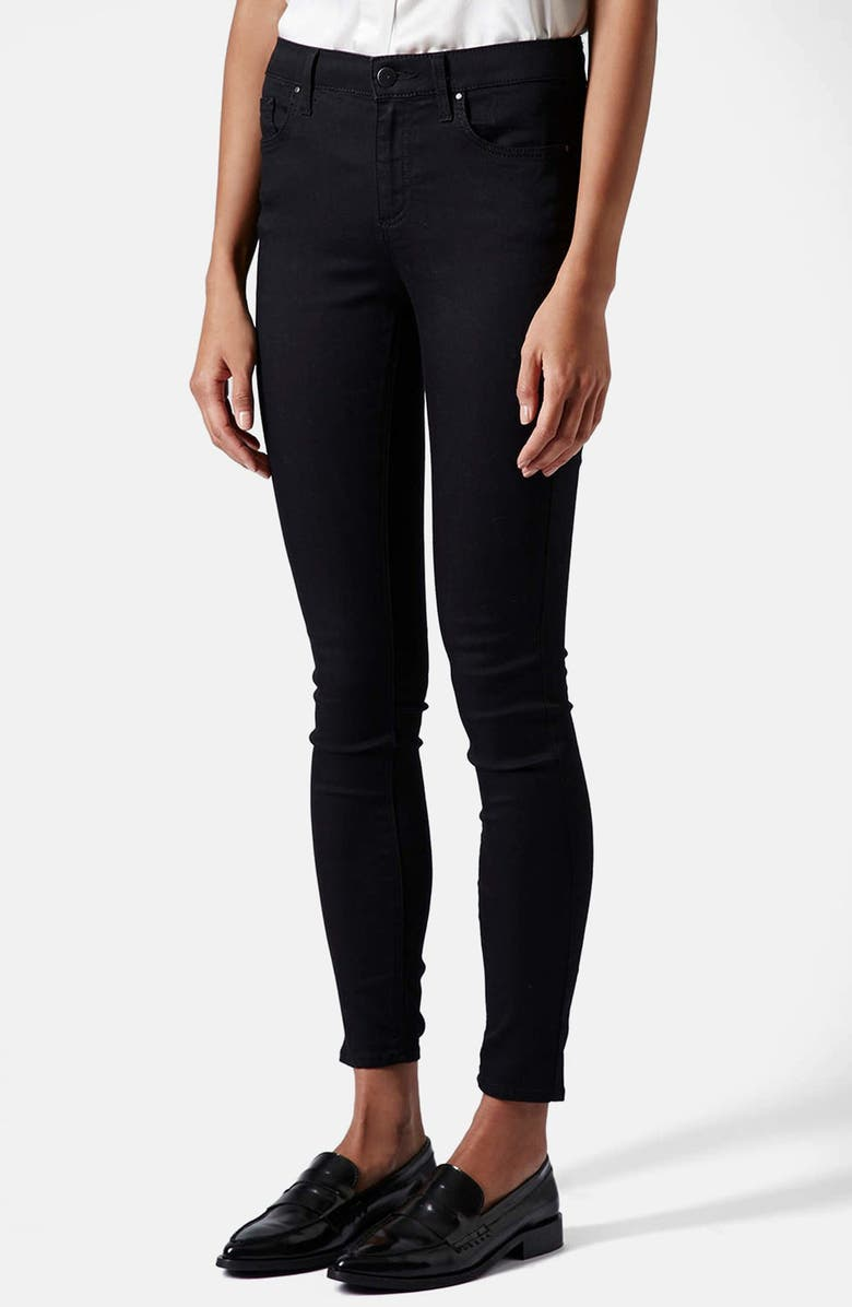 TOPSHOP Moto 'Leigh' Mid Rise Skinny Jeans, Main, color, 001