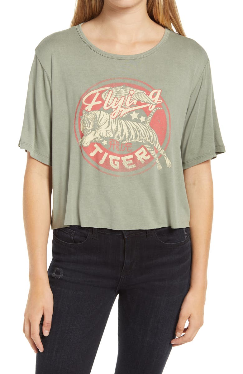 LA LA LAND CREATIVE CO Flying Tiger Crop Graphic Tee, Main, color, WASHED OLIVE