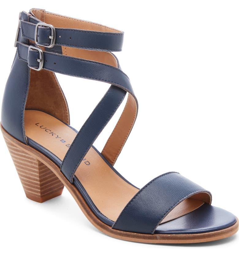 LUCKY BRAND Ressia Double Ankle Strap Sandal, Main, color, INDIGO LEATHER