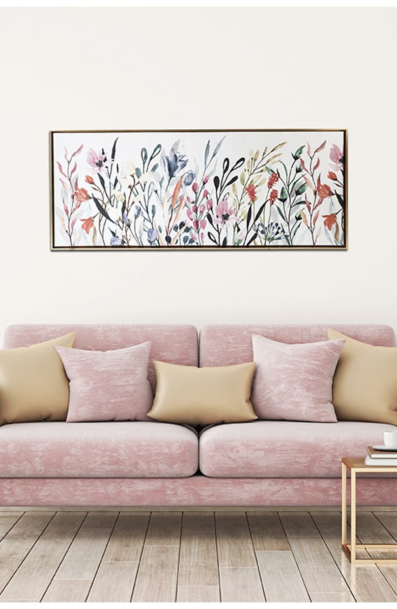 """GALLERY 57 Colorful Wildflowers Floating Canvas Wall Art - 45"""" x 19"""", Main, color, MULTI"""