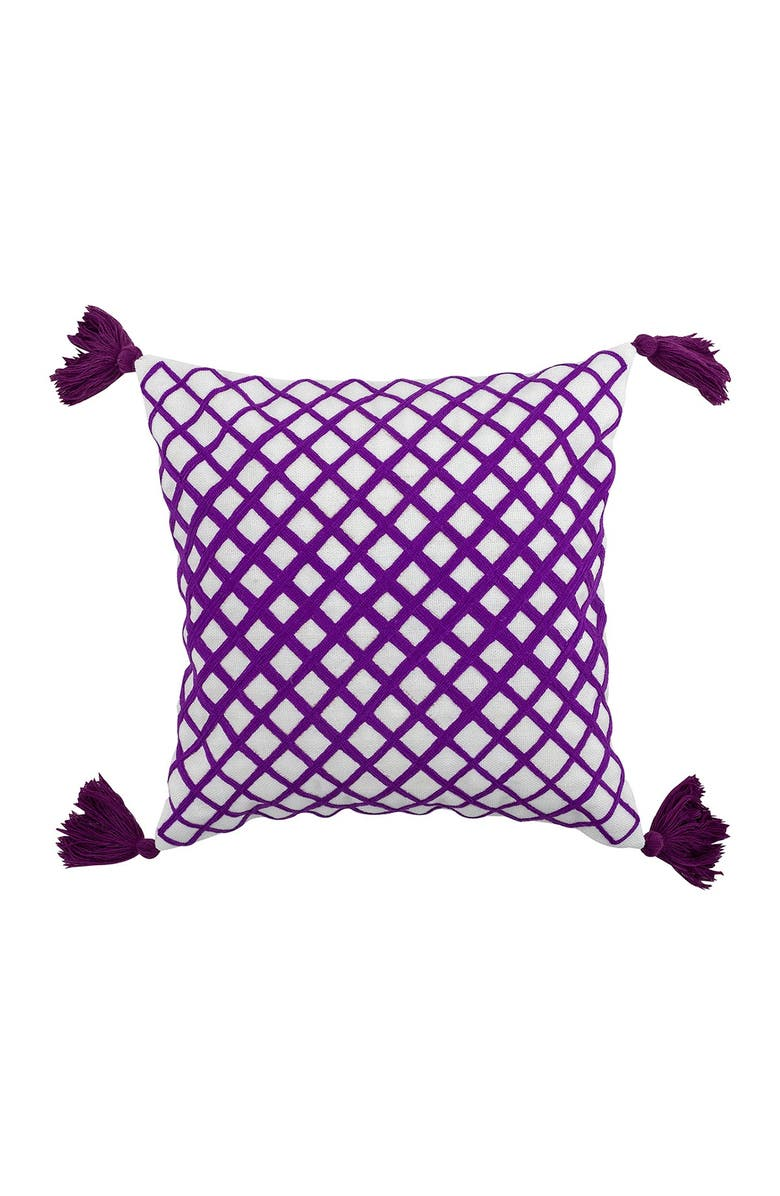 """DIVINE HOME Embroidered Angles Outdoor Pillow - 17"""" x 17"""" - Purple, Main, color, PURPLE"""