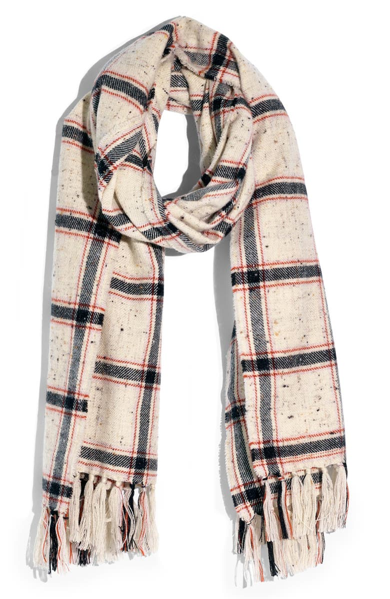MADEWELL Hanstone Plaid Knotted Fringe Scarf, Main, color, PALE LILAC