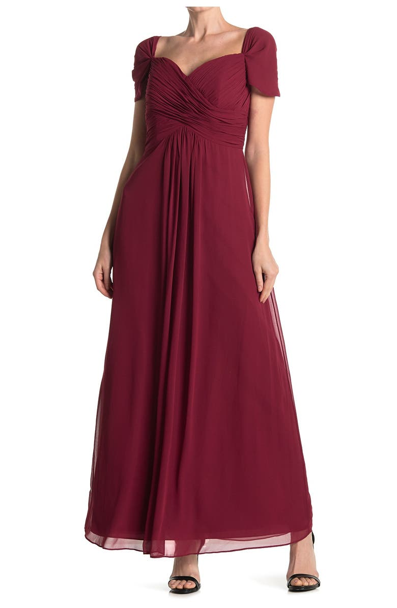DESSY COLLECTION Off the Shoulder Chiffon A-Line Gown, Main, color, 610