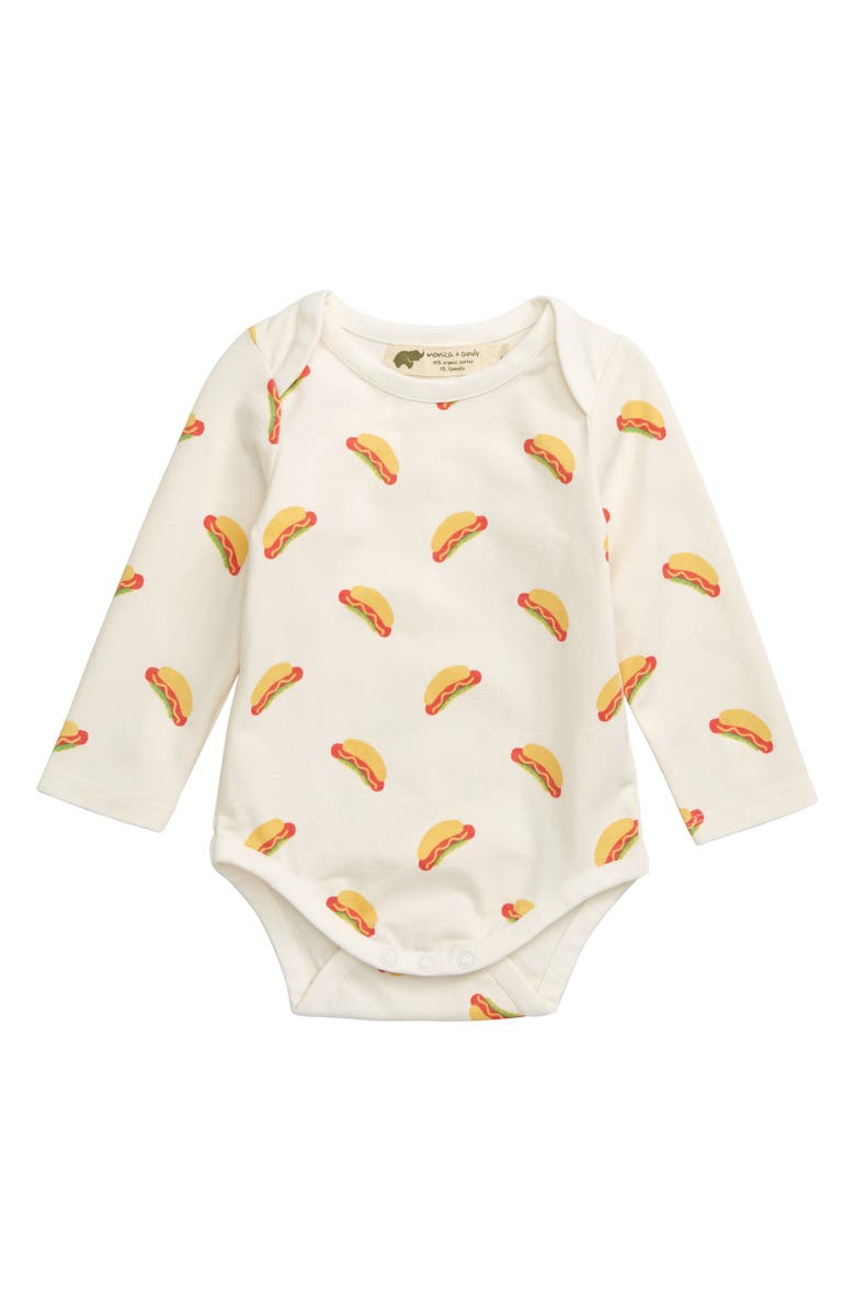 MONICA + ANDY Jack and Jill Hot Dog Organic Cotton Bodysuit, Main, color, 100