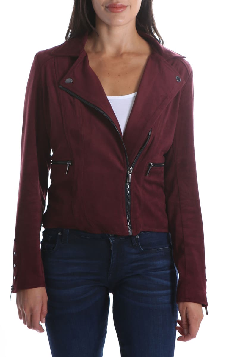 KUT FROM THE KLOTH Faux Suede Eveline Jacket, Main, color, RAISIN