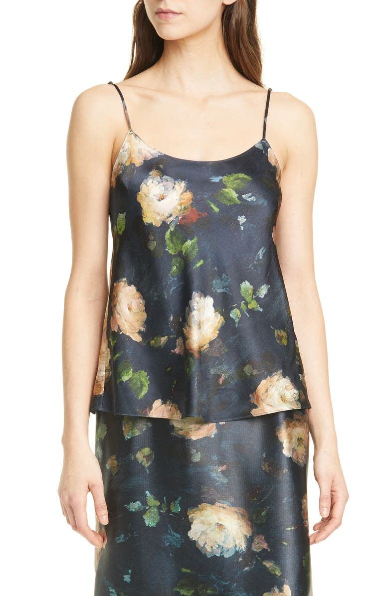 VINCE Painted Rose Silk Camisole, Main, color, 410