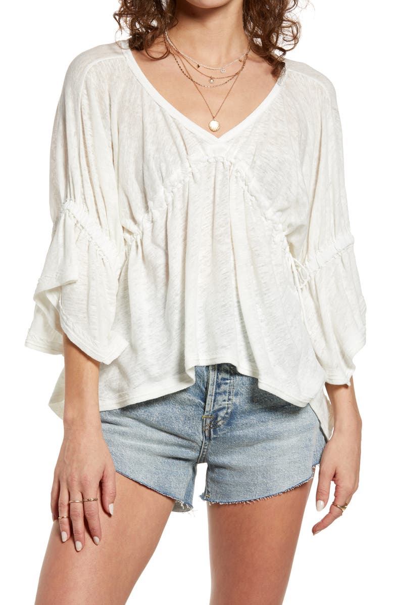 FREE PEOPLE Ruffle Linen Blend Top, Main, color, IVORY