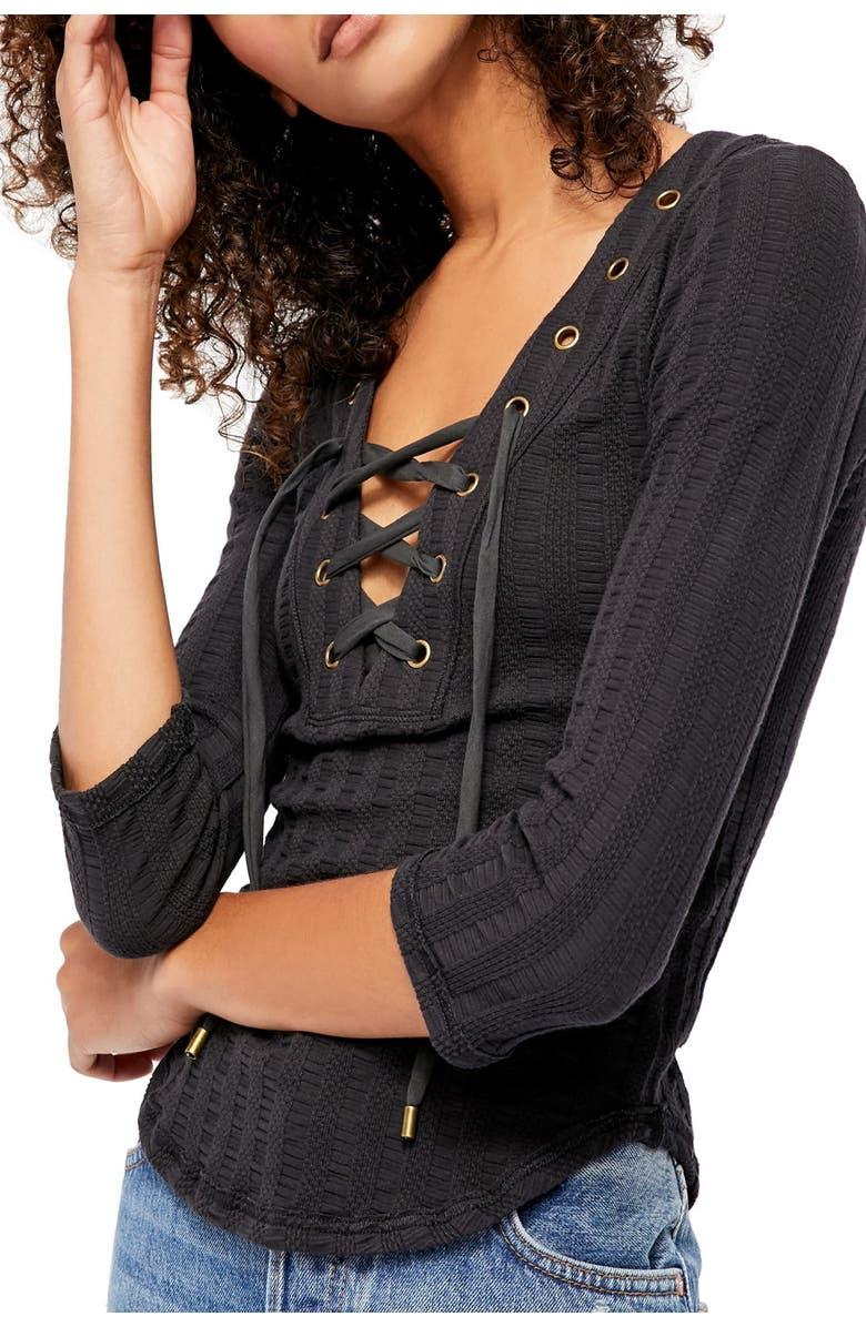 FREE PEOPLE Ice Cold Lace-Up Top, Main, color, BLACK