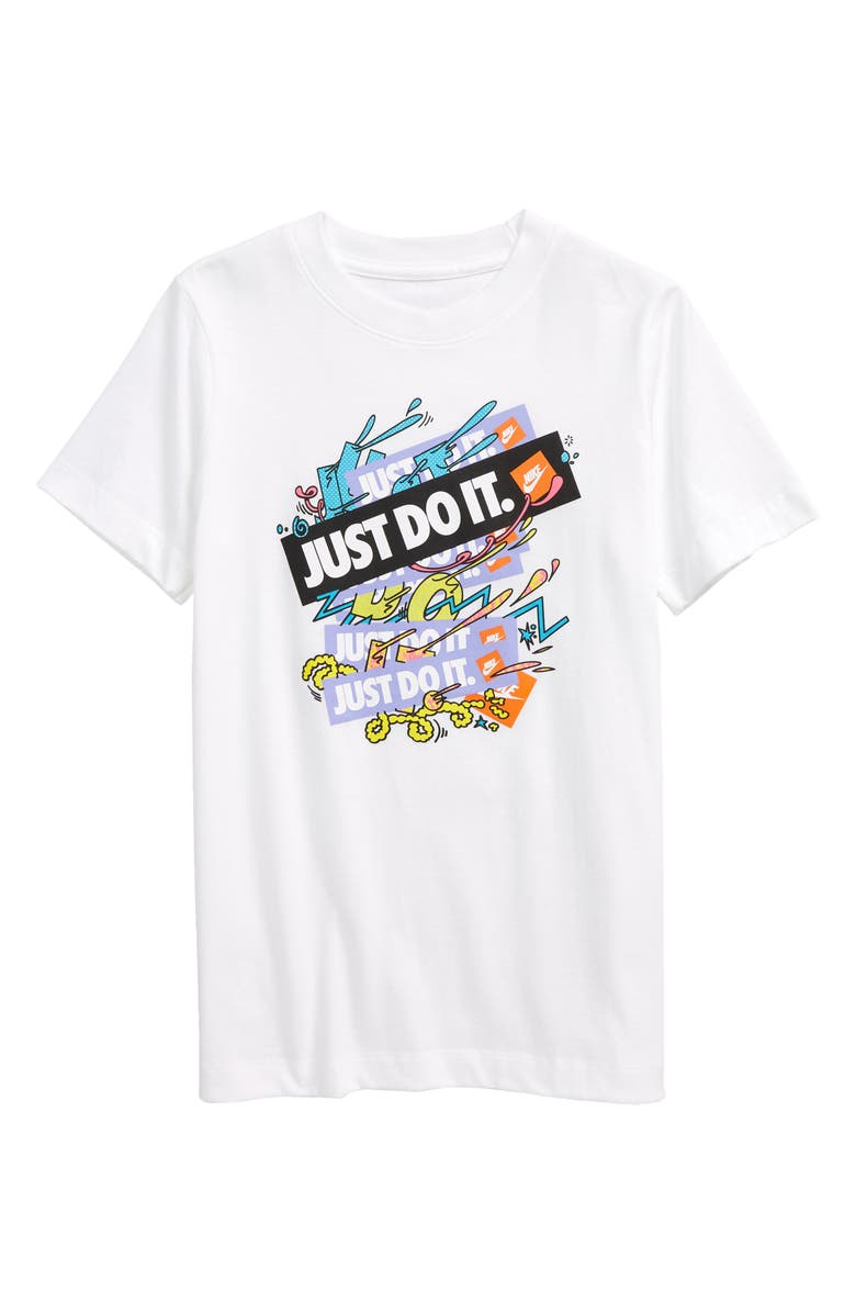 NIKE Sportswear Kids' Just Do It Graphic Tee, Main, color, WHITE