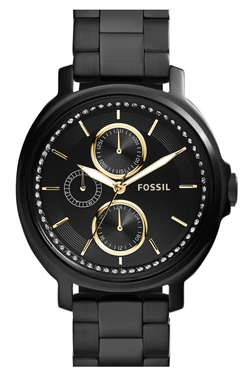 FOSSIL 'Chelsey' Crystal Bezel Multifunction Watch, 39mm, Main, color, 001
