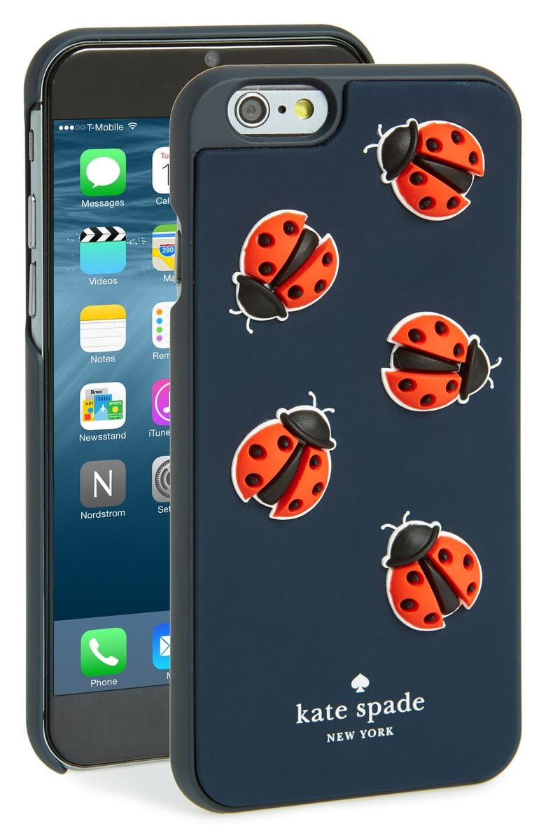 KATE SPADE NEW YORK 'ladybugs' iPhone 6 case, Main, color, NAVY